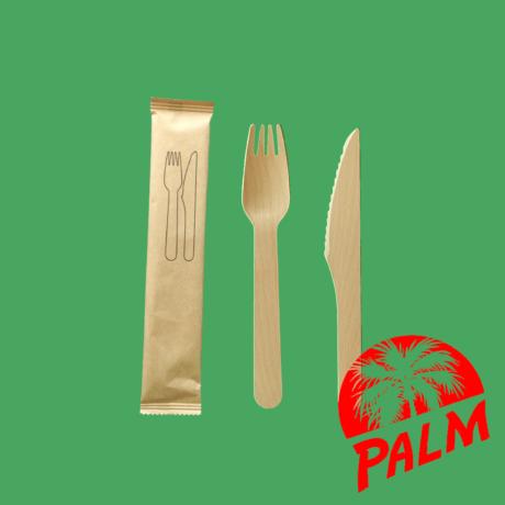 Csomagolt fa evőeszköz (kés, villa)